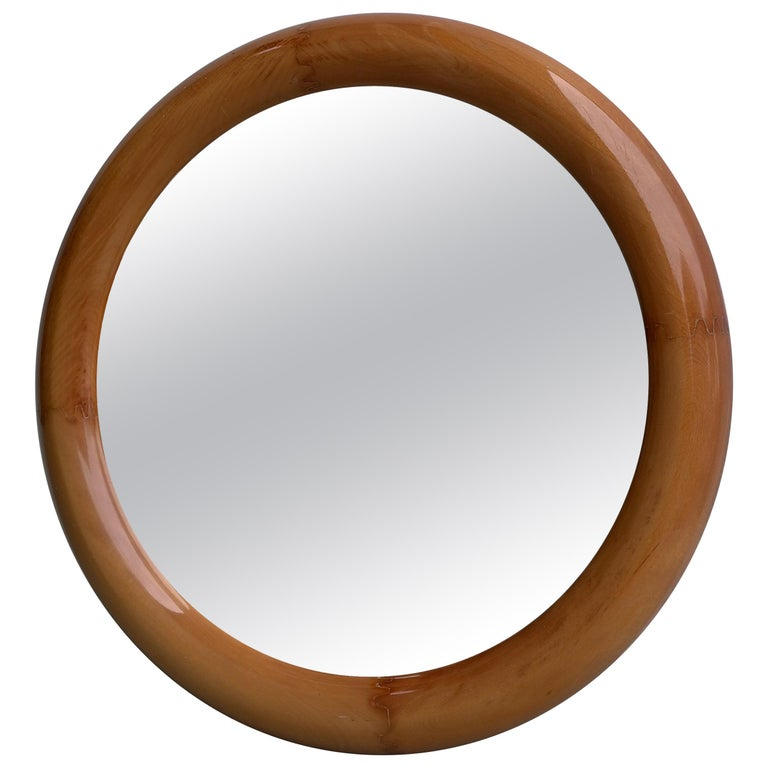 Large Round Mahogany Mirror, France, 1960s For Sale