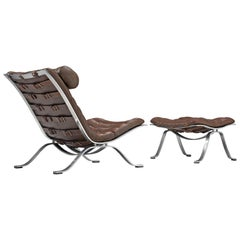 Arne Norell 'Ari' Lounge Chair and Ottoman in Dark Brown Leather