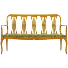 Biedermeier Style Antique Maple Hallway Sofa Bench, 20th Century
