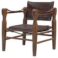 Safari Chair in Patinated Brown Leather and Oak, 1940s