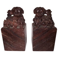 Pair of Marble Ancient Chinese Bookends Cing Period Emperor Puyi