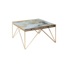 Contemporary Square Gold White Black Metal Crystal Spanish Coffee Table, 2016