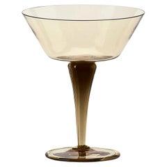 Venini Ambasciata Hand Blown Coppa Champagne in Straw Yellow Glass