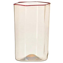 Venini Esagonale Acqua Water Glass in Straw Yellow & Coral by Carlo Scarpa