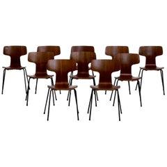 Set of 10 Arne Jacobsen Chairs in Teak Wood
