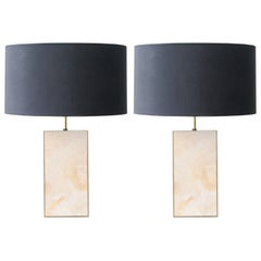 Contemporary Rectangular Beige Gold Methacrylate Brass Spanish Table Lamps, 2016