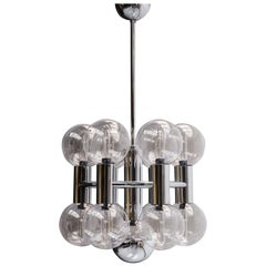 1970s Chrome and Glass Ceiling Light by Motoko Ishii for Staff, Germany