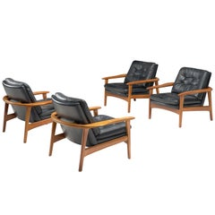 Danish Set of Easy Chairs in Black Leather and Teak, 1960s