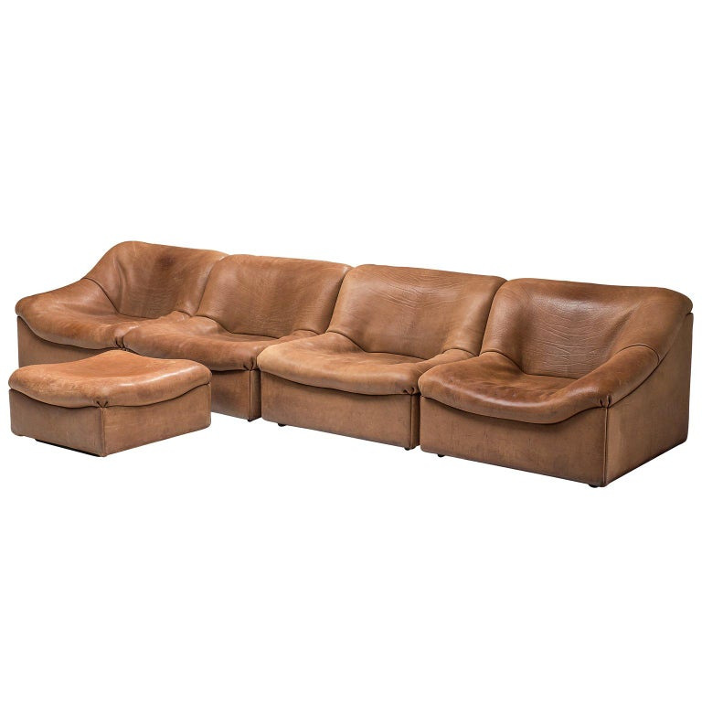 De Sede DS46 Sectional Sofa with Ottoman in Cognac Buffalo Leather ...