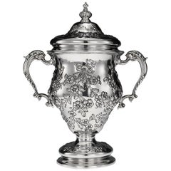 Antique 20th Century Edwardian Solid Silver Cup and Cover, London, circa 1902