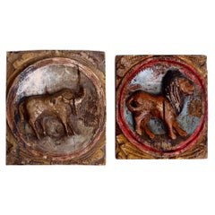 Swedish Pair of Original Painted Reliefs, 18th Century, Probably from Mid Sweden