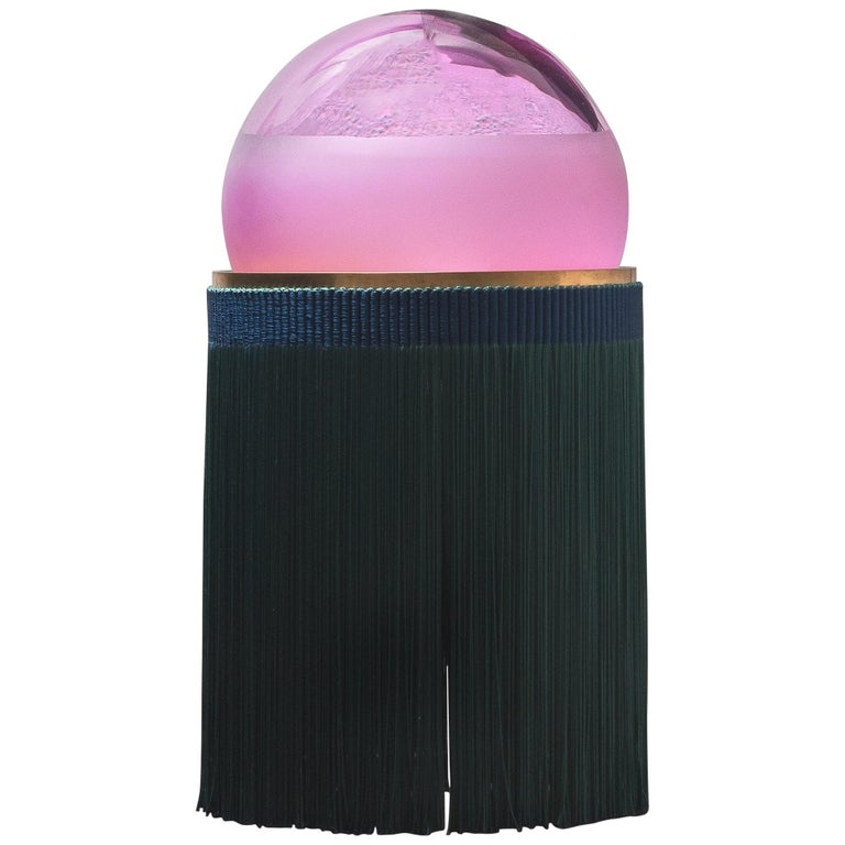 Normanna Medium Lamp in Murano Glass and Tripolino fringes by VI+M Studio For Sale