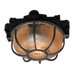 Vintage Industrial Bakelite Holophane Glass Flush Mount Ceiling Lights (42x)