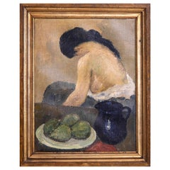 Charming Model Painting by Carl Fischer, Signed
