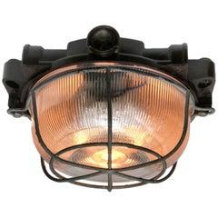 Vintage Industrial Bakelite Holophane Glass Flush Mount Ceiling Lights (11x)