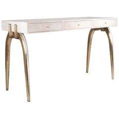 Sonia Writing Desk in Cream Shagreen and Bronze-Patina Brass by R&Y Augousti