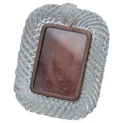 Venini Murano Glass Photo Frame Transparent Braid Brass Midcentury