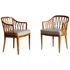 "Carl Malmsten, Rare ""Widemar"" Side Chairs, Birch, Grey Fabric, Sweden, 1942"