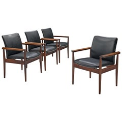 Finn Juhl Set of Diplomat Chairs in Rosewood and Black Leather