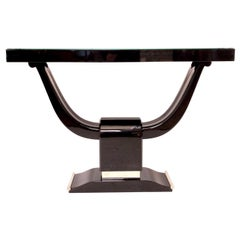 Strong Art Deco Console Table in Black Piano Lacquer and Metal Applications