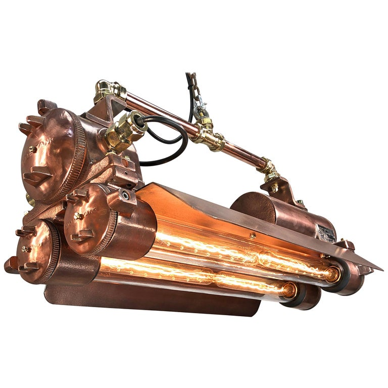 1970s Industrial Copper, Polished Brass & Glass Flameproof Tube Light with Shade For Sale