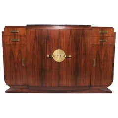 French Art Deco Rosewood Sideboard Buffet Cabinet in Manner of Jules Leleu