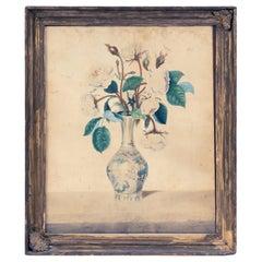 Sarah Maria Curtis Fine Botanical Watercolor Study of Roses in Vase