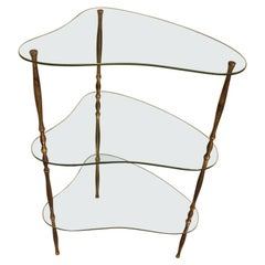 Midcentury Glass Shelves and Irregular Shaped Solid Brass Structure Vitro, 1950