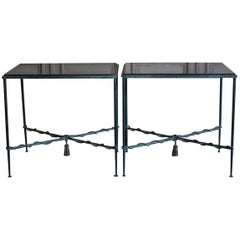 Pair of 1950s-1960s French Bronzed Iron Console or Sofa Tables