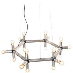 Hexagonal Chandelier by Robert Haussmann for Swiss Lamps International, 1965