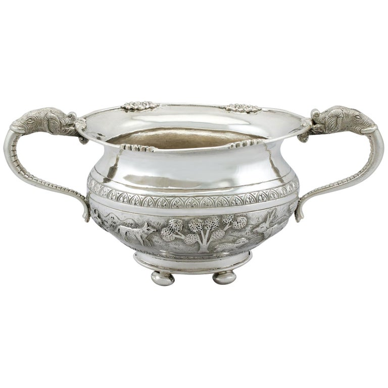 Antique Indian Silver Sugar Bowl, circa 1920 For Sale