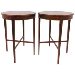 Pair of Zangerle and Petersen Mahogany Side Tables with Leather Tops circa 1940s