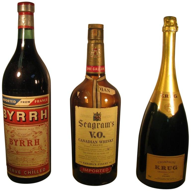 Antique Bottle Display: Vintage Glass Liquor Champagne And Wine Display Bottles