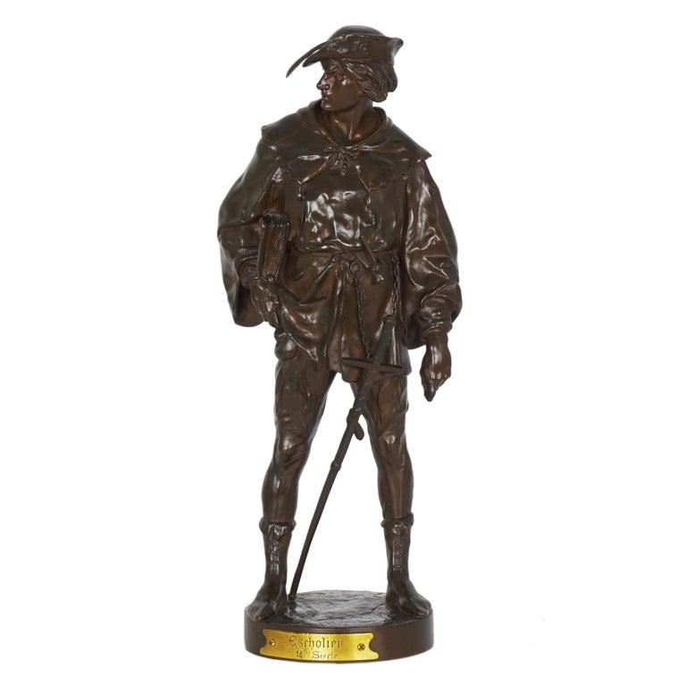 """""""Escholier, 14th Siècle"""" Antique French Bronze Sculpture by Emile Picault For Sale"""