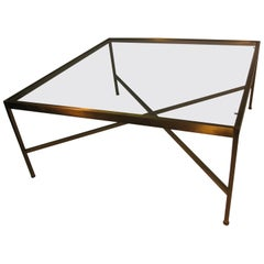 Mid-Century Modern Brass With Glass Square Cocktail Table
