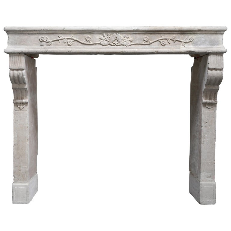 Antique Mantelpiece of French Limestone, Louis XVI Style, 19th Century For Sale