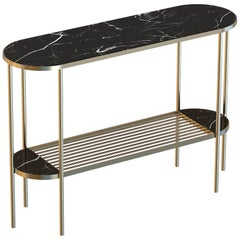 Touché Contemporary Console Table Handmade & Customizable in Marble and Brass