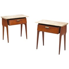 Pair of Italian Nightstands with Marble top