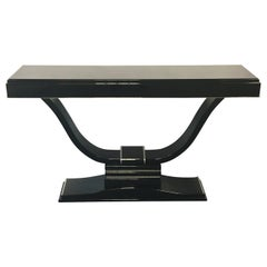 Lyra Shaped Art Deco Console Table in Black Piano Lacquer and Metal Applications