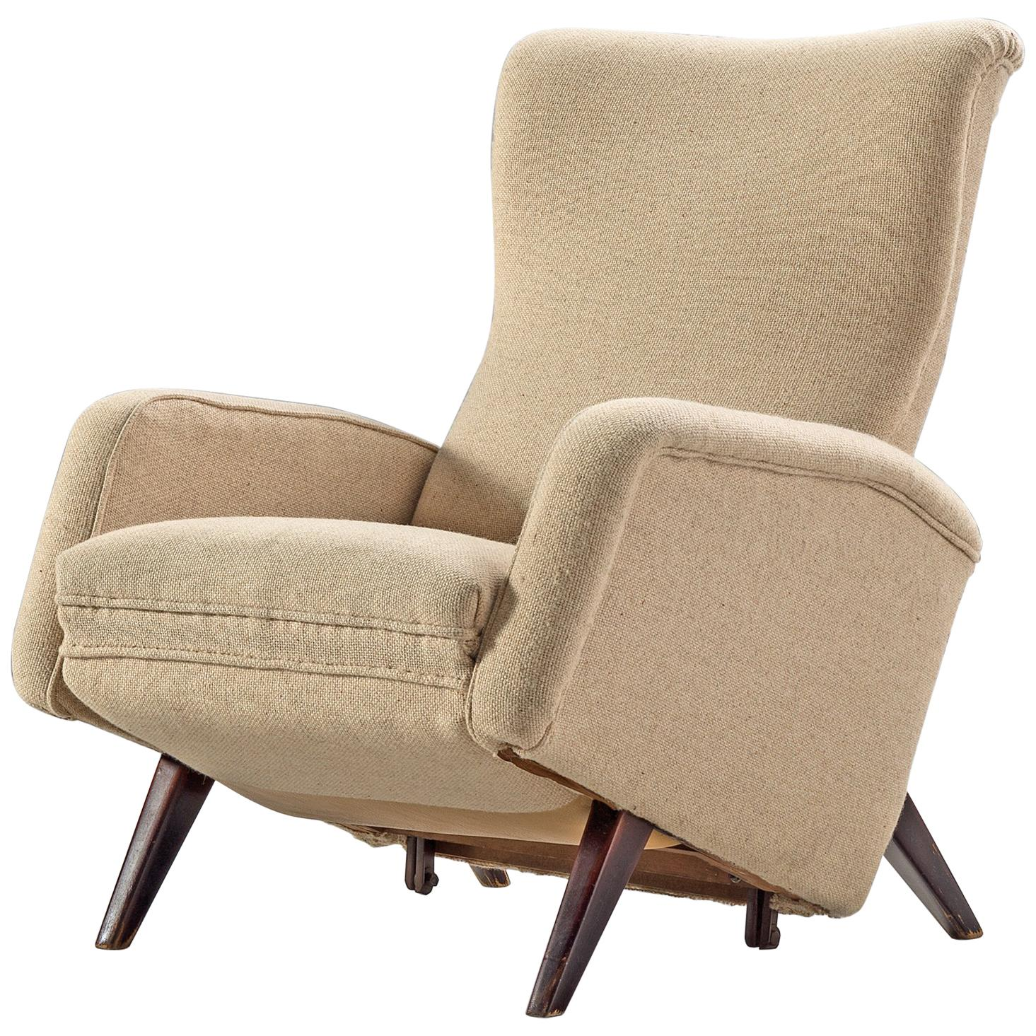 Italian Reclining Chair in Beige Upholstery, 1950s