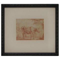 Dutch 17th-18th Century Red Charcoal Drawing of a Cow