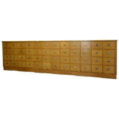 Oak Midcentury German Apothecary Drawers, circa 1950s