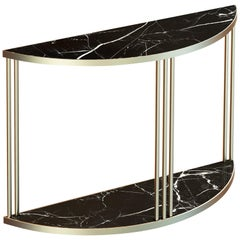 Roma Contemporary Console Table Handmade and Customizable in Marble and Brass