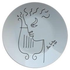Cocteau Jean '1889-1963' Limoges Porcelain Plate, Signed