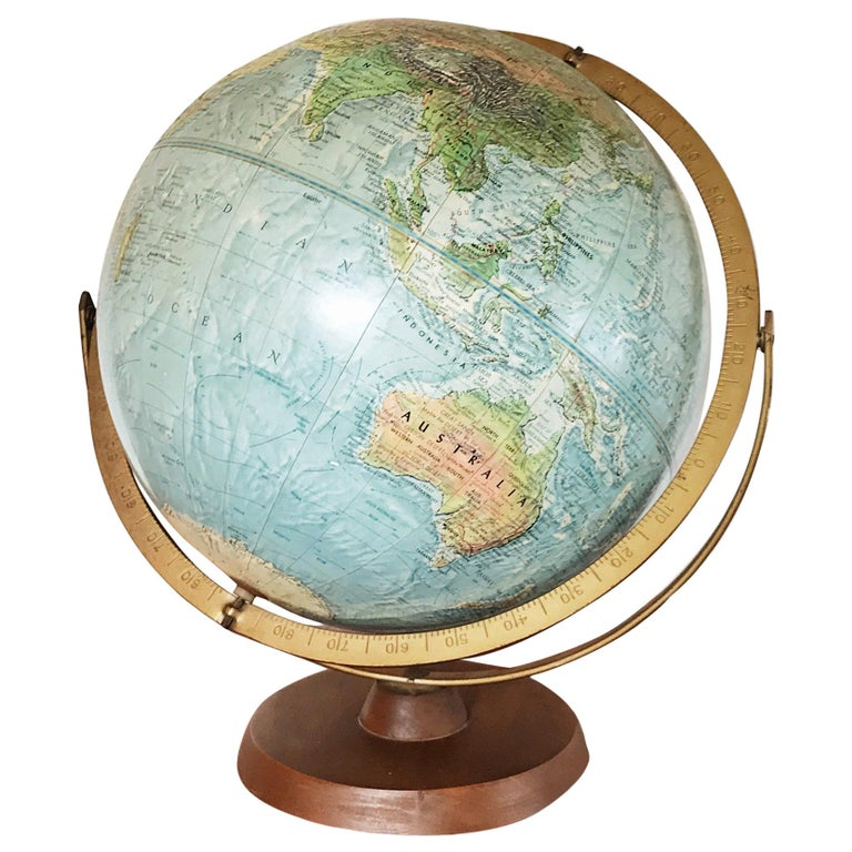 Mid 20th Century Reader S Digest Great World Globe Topographical Desk Globe