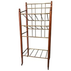Oak and Brass Art Deco Magazine Stand Cart in the Style of Ernst Rockhausen