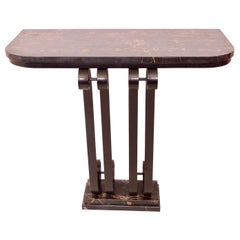 French Art Deco Console Table in Wrought Iron and Portor Marble, 1920s