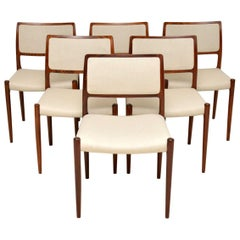 1960s Set of 6 Danish Dining Chairs by Niels Moller