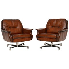 1960s Pair of Vintage Leather and Chrome Swivel Armchairs