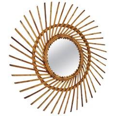 Spanish Mid-Century Modern Rattan Pinwheel Sunburst Mirror